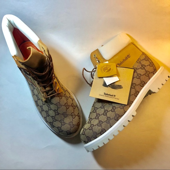 4cad19b81 Timberland Shoes | Work Boots With Gucci Print New 12 | Poshmark